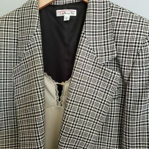 Vtg 80s Glen Plaid Tweed Blazer USA